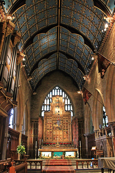 The Chancel  towards the Alter and Victorian reredos screen in St. Wulfram's church ~ Grantham~ Lincolnshire
