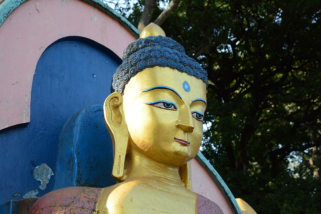 Kathmandu, Buddha Statue at the East Entrance to the Swayambhunath