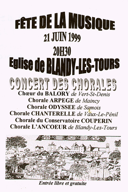 Concert des chorales à l'église de Blandy-les-Tours le 21/06/1999