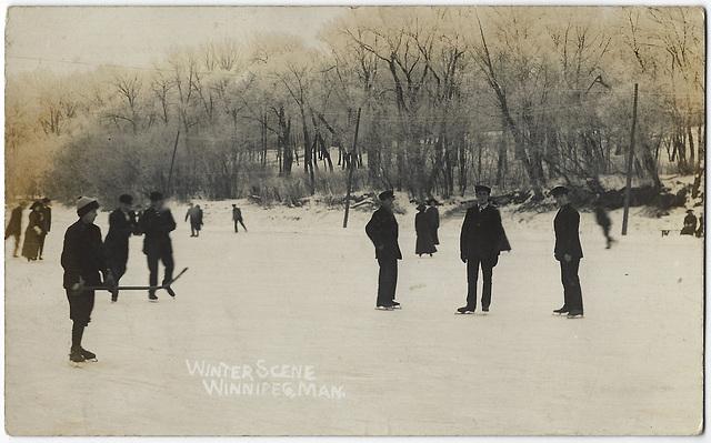 WP2202 WPG - WINTER SCENE (SKATING ON ASSINIBOINE & HOCKEY)