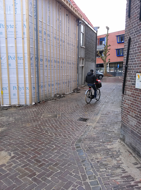 Cycling in an alley