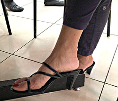 wife in banana republic heels