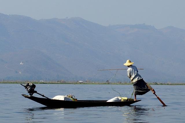 Leg rowing fisherman at Inle Lake