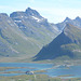 Norway, Lofoten Islands, Mountains of the Island of Flakstadøya and the Road to the Ytresand Beach