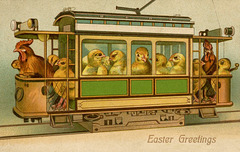 Streetcar Chicks with Rooster Conductor for Easter
