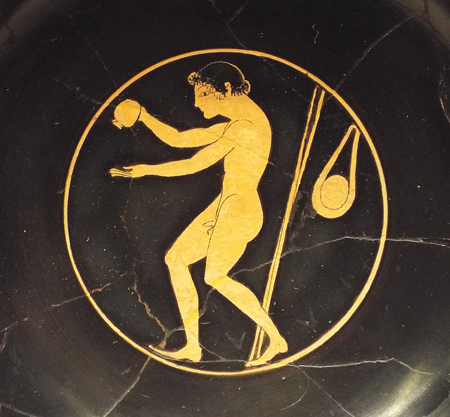 Detail of a Kylix with an Athlete Applying Oil in the Getty Villa, June 2016