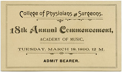 Commencement Ticket, College of Physicians and Surgeons, Baltimore, Md., March 18, 1890
