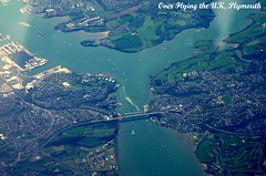Over Plymouth, England, Heading West