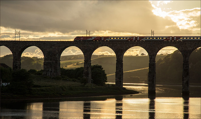 Over the viaduct at sunset
