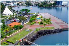 St. Lucia : il terminal crociere nel porto di Castries visto dall'alto della Costa Atlantica