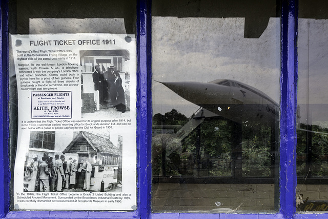 Brooklands 1911 Flight Ticket Office with Concord reflection.