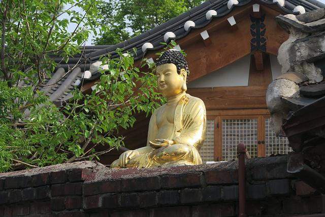 Jardin d'une maison particulière, Bukchon Hanok village, Séoul (Corée du Sud)
