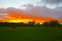 Sunset over the Crane Valley golf course