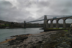 Menai suspension bridge connecting the island of Anglesey with the main land Wales