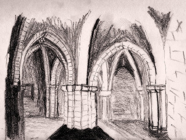 St. Aldhelm's Chapel, Central Column - Sketch from 1993