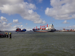 Nordserena leaving the port of Rotterdam.