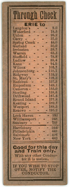 Philadelphia and Erie Railroad Ticket (Back)