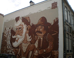 Mural of Don Quijote and Sancho Panza.