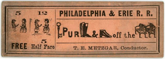 Philadelphia and Erie Railroad Ticket