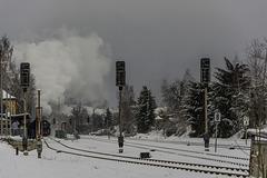 Die Chemnitzer und Nossener Eisenbahnfreund erreichen den Bahnhof Thalheim/Erzgebirge