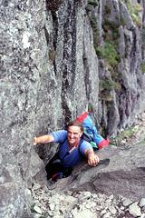 Alan climbing Jacks Rake on Pavey Ark, Langdale Pikes,Lake District 22nd July 1992.