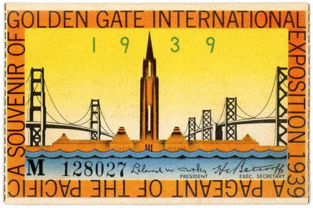 Golden Gate International Exposition Ticket, San Francisco, 1939