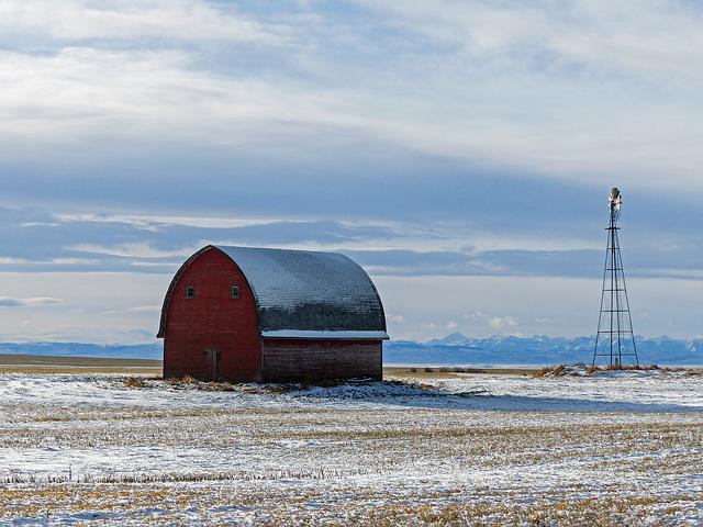 Little red barn on the prairie