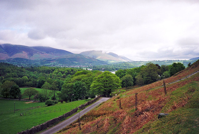 View on the ascent to Catbells (451m) from Hawes End (Scan from May 1991)