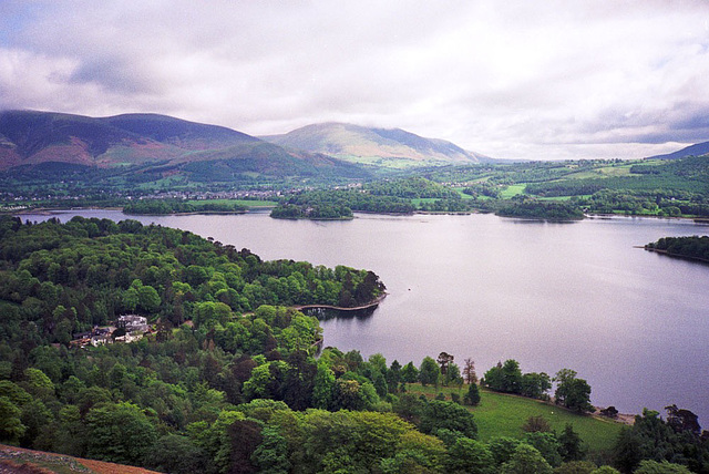 View looking NE across Keswick and Derwent Water on the ascent to Catbells (451m) [May 1991 scan]