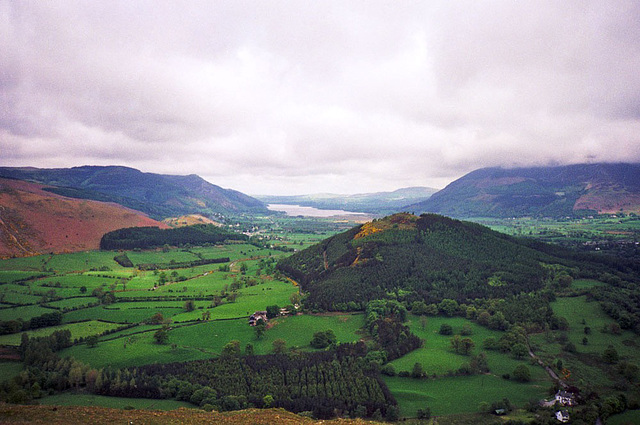 Looking N across Swinside and on to Bassenthwaite Lake (scan from May 1991)