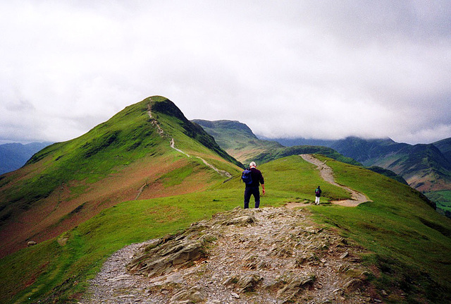 Final ascent of Catbells (451m) from Hawes End (Scan from May 1991)