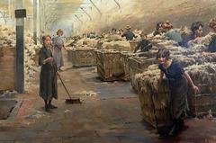 """""""Scène de triage de la laine à Roubaix"""" (Ferndinand-Joseph Gueldry - vers 1910)"""