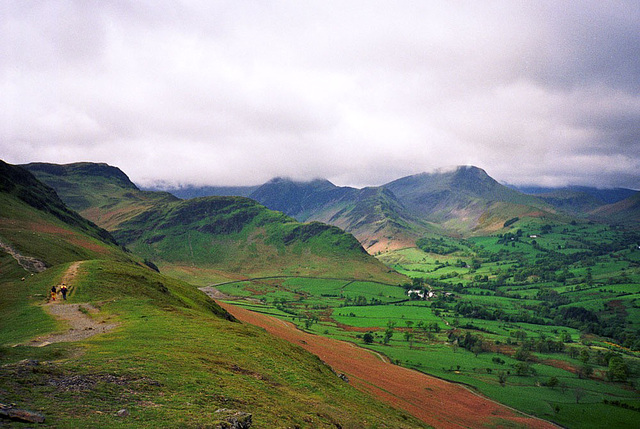 View from the summit of Catbells across Newlands Valley (Scan from May 1991)