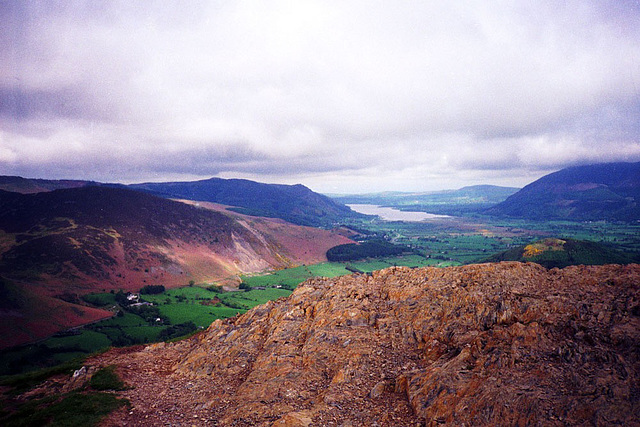 View from the summit of Catbells Towards Bassenthwaite Lake (Scan from May 1991)