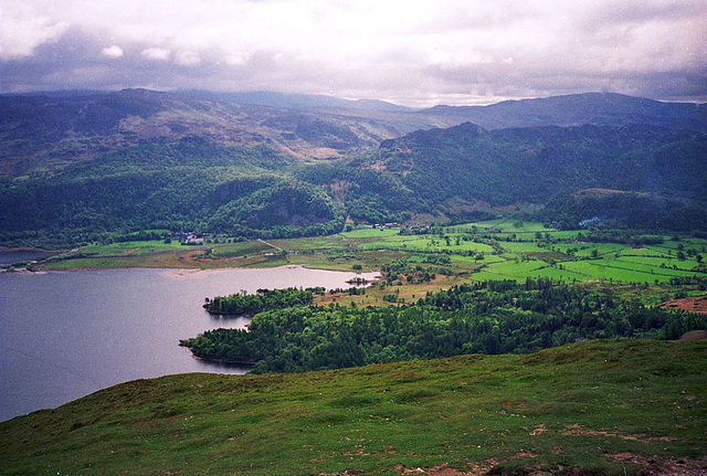 Looking across Great Bay at the southern end of Derwent Water (Scan from May 1991)