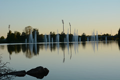 Finland, Fountains in the City Park of Oulu