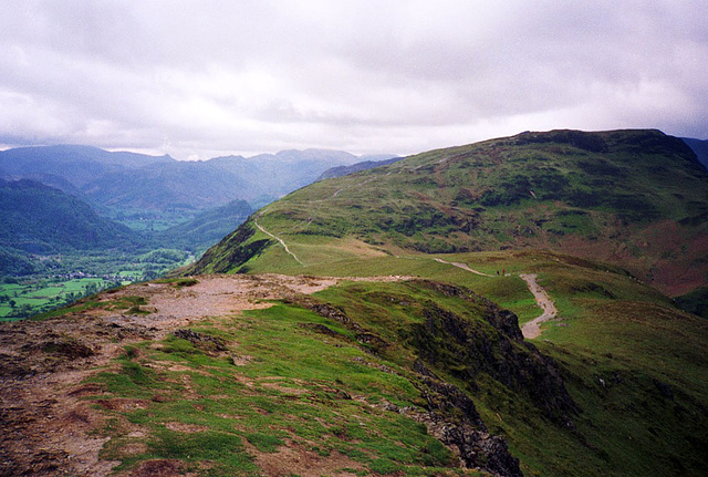 Descent from Catbells towards Great Bay (Scan from May 1991)