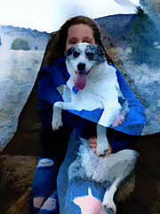 Girl with blue dog