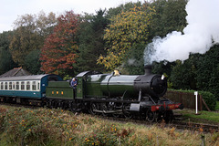 GWR 2800 class 2-8-0 2857 with 1G51 09.30. Bury - Rawtenstall departing Irwell Vale 19th October 2018.(ELR)