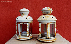 two rusty lamps