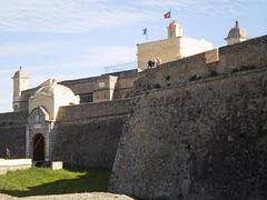 Walls, main gate and sentry boxes.