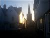 winter sunlight in an old street