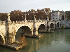 Saint Angel Bridge and Tiber River.