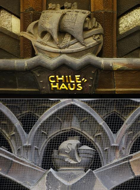 Verzierungen am Chilehaus