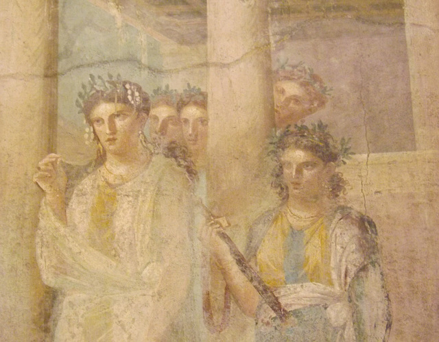 Detail of a Wall Painting with Iphigenia Leaving the Temple of Artemis to Meet Orestes and Pylades from Pompeii in the Naples Archaeological Museum, July 2012