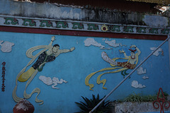 Mural of a Chinese temple at Kyaukme, Myanmar
