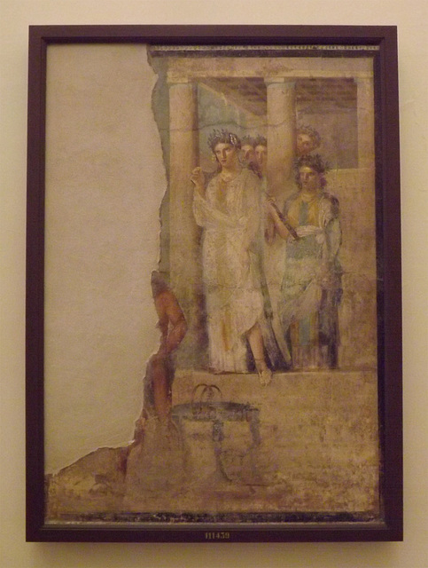 Wall Painting with Iphigenia Leaving the Temple of Artemis to Meet Orestes and Pylades from Pompeii in the Naples Archaeological Museum, July 2012