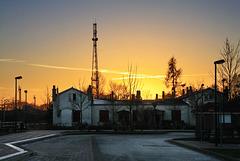 Sonnenuntergang am Bahnhof Hagenow-Land