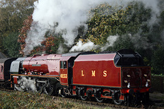 LMS class 8P Coronation 4-6-2 6233 DUCHESS OF SUTHERLAND with 1J53 09.50 Heywood - Rawtenstall departing Irwell Vale 19th October 2018.(ELR)