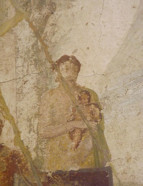 Detail of the Wall Painting with Hercules Grabbing the Centaur Nessus in the Naples Archaeological Museum, July 2012